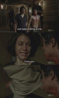 S3 Glenn and Maggie :( This moment was heartbreaking so happy Rick, Michonne, Daryl and Oscar got there in time :)