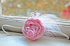 My Tutu Boutique- Baby Pink Satin Rosette Feather & Pearl Headband