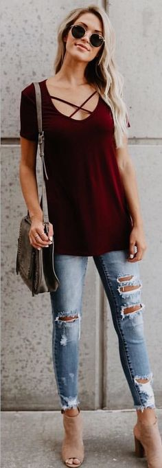 #fall #outfits women's scoop-neck shirt and distressed blue denim jeans