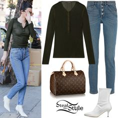 Steal Her Style Kendall Jenner Clothes Outfits Steal Her Style Celebrity Piercings, Bella Hadid Style, Stitch Shirt, Beaded Jacket, Kendall Jenner Outfits, One Piece Suit, Double Breasted Coat, Kardashian Style, Distressed Denim