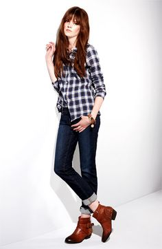 plaid shirt, cuffed jeans, booties