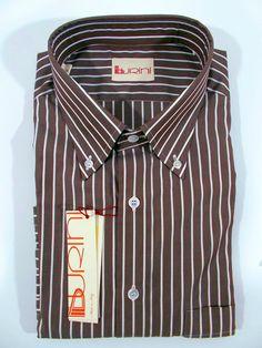 76a21164e1e2d9 BURINI camicia uomo sartoriale CLASSICA COTONE righe MARRONE P E tg V XL NWT