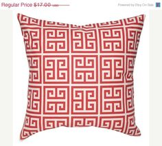 15%OFF Greek Key Pillow Cover - Red Pillow Cover - Red Greek Key Pillow Cover