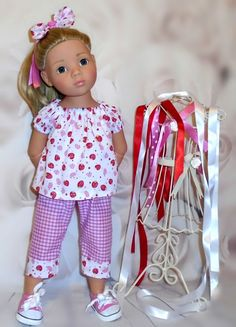 pants top & hair bow Gotz Hannah/happy kidz/designafriend dolls by Vintagebaby
