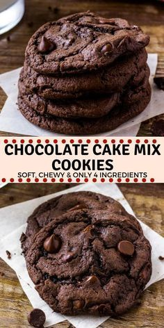 Chocolate Cake Mix Cookies – Soft, chewy & Only 4 Ingredients! Chocolate Cake Mix Cookies are soft, chewy, and a little fudgy. The recipe only requires 4 ingredients, so it's the perfect easy chocolate cookie recipe for whenever the craving hits. Chocolate Chip Cookies, Chocolate Cake Mixes, Chocolate Chip Recipes, Brownie Cookies, Chocolate Chips, Dessert Chocolate, Cookie Bars, Divine Chocolate, Baking Chocolate Cake
