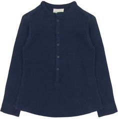 Louis Louise Grand Pere Shirt: Navy cotton crepe girls and boys shirt by Louis Louise. Button-fastening at front. Split side seams. Curved hem. Stitched designer logo at hem.