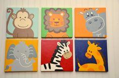 3 Piece Original Painting Canvas Animal by fantabbulousdesigns
