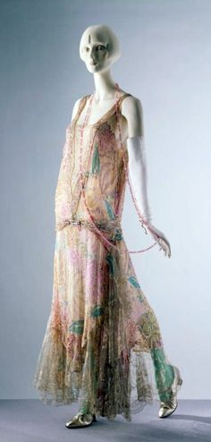 Circa 1922 Callot Soeurs Dress, Paris, France. Printed silk voile embroidered with sequins, glass bugle beads, and trimmed with lace. Via Victoria and Albert Museum
