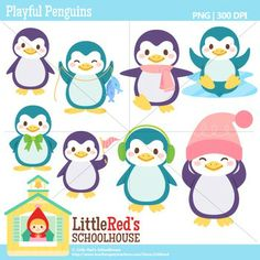 Clip Art: Playful Penguins - Winter theme clipart. For personal, educational and small-business commercial use. $4.50