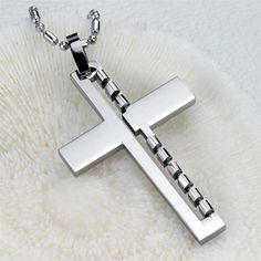 JEWELRY New Cross Pendant Stainless Steel by PaparazziStore2, $9.00