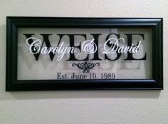 8 x 20 Decorative Frame, Black name on the background and classic white, used for showers, weddings, anniversaries and housewarming gifts. Silver