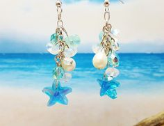 Beach Jewelry Ideas ~ Summer Jewelry Trend ~ Blue Summer Earrings ~ Bridesmaid Jewelry ~ Crystal Earrings ~ Beach Wedding ~ Mermaid Jewelry by BlueWorldTreasures on Etsy
