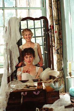 Keira Knightley as Elizabeth Bennet and Rosamund Pike as Jane Bennet in 'Pride and Prejudice', 2005