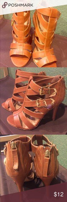 Tan Arden B Strappy Heels Sz 8 NEVER WORN Tan Arden B Heels with gold back zipper & buckles, strappy with quilted heel detailing. Size 8 never worn but no box Arden B Shoes Heels