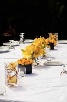 variety of centerpieces