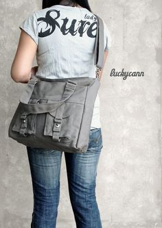 BAILEY in Dark Grey // Everyday Canvas Bag handmade  by luckycann, $47.00    bought one for me and peyton!