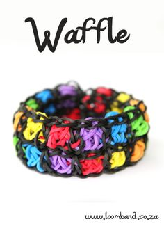 Waffle Bracelet Loom band tutorial, http://loomband.co.za/waffle-bracelet-loom-band-tutorial/