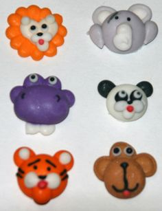 Mini Safari Animal Faces Edible Cupcake Toppers