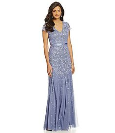 Bridesmaids dress... Adrianna Papell CapSleeve Beaded Gown #Dillards