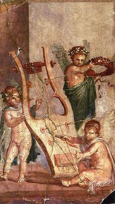 Cupids playing with a lyre. Roman fresco from Herculaneum
