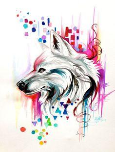 Watercolor Wolf Design (on ebay) by Lucky978.devianta... on @deviantART