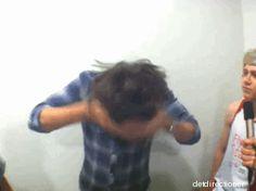 overwhelmed by hair flip gif