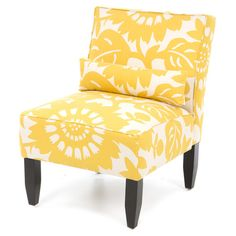 Armless accent chair with sungold-hued floral upholstery. Handmade in the USA. Product: ChairConstruction Material: P...