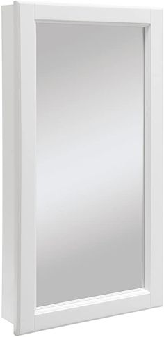 Design House 545111 Wyndham White Semi-Gloss Medicine Cabinet Mirror with and Wide by Tall by Deep Surface Mount Medicine Cabinet, Recessed Medicine Cabinet, Glass Shelves Kitchen, Kitchen Bath Collection, Concealed Hinges, Tempered Glass Shelves, Rustic Shabby Chic, Wall Mounted Mirror, Beveled Mirror