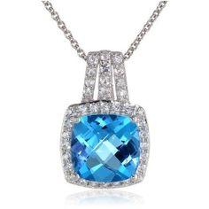 Sterling Silver, Cushion-Cut Blue Topaz,  White Sapphire Neck Pendant  #Pendant