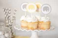 Elephant Cupcake Topper Baby Shower Decor by PassTheScissorsShop, $14.00