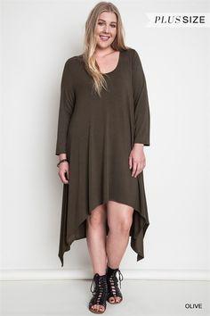 Asymmetrical Olive Dress