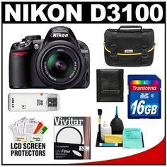 Nikon D3100 Digital SLR Camera & 18-55mm VR Lens with 16GB Card + Filter + Case + Accessory Kit $559.95