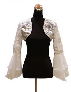 Here's a jacket to wear with your strapless/sleeveless gown: Long Sleeve Organza Evening/Wedding Wrap/Jacket With Sequins - USD $ 39.99