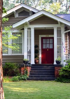 Red Front Door Brown House what are the best paint colours for a front door? | front doors