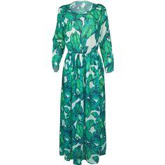 Tropical Leaf Printed Round Neck Elastic Waist Maxi Dress (10.155 HUF) ❤ liked on Polyvore featuring dresses, long blue dress, long length dresses, leaf print dress, maxi length dresses and elastic waist dress