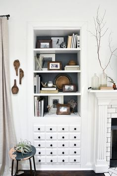 IDEA: faux drawers in bottom. Before & After: A Reclaimed Traditional Brick Foreclosure   Design*Sponge