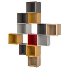 EKET Wall-mounted cabinet combination - multicolor 1 - IKEA - Home - lack Ikea Shelving Unit, Kallax Shelf Unit, Wall Shelves, Hemnes Bookcase, Ikea Cubbies, Storage Shelving, Cube Mural, Ikea Eket, Etagere Cube