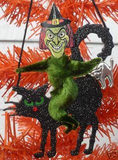 Vintage style Green WITCH on a BLACK CAT Halloween Tree ornament - yuk!   eBay