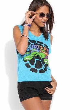 Deb Shops Deep Armhole Tank Top with Ninja Turtle Shell Screen $12.60
