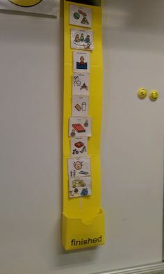 I like the finished box at the bottom. maybe add on to the stations. My classroom daily visual schedule