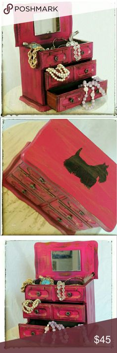VINTAGE 1960's JEWELRY BOX VINTAGE 1960's WOOD JEWELRY BOX  THIS IS A BEAUTIFUL 1960's SOLID WOOD JEWELRY BOX THAT'S BEEN UPCYCLED AND DISTRESSED WITH FUCHSIA PINK AND GOLDEN PATINA.  IT HAS A SCOTTISH TERRIER HAND DRAWN AND PAINTED ON THE LID.  BOX OPENS WITH A MIRROR INSIDE.  HAS 2 DRAWERS AND IS BLACK ON THE INSIDE.   (jewelry not included) Jewelry