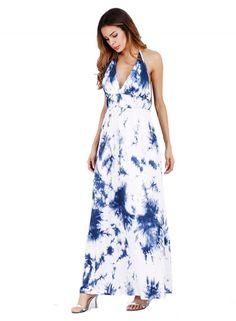 Halter Off Shoulder High Waist Print Maxi Dress