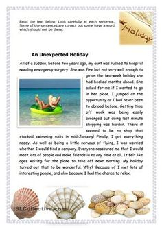 A holiday story with an error correction exercise. The key is included. English Primary School, English Grammar For Kids, Teaching English Grammar, English Reading, Grammar Lessons, English Vocabulary, Grammar Worksheets, English Short Stories, English Story