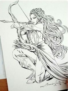 Pencil Drawing Tauriel by eDufRancisco on deviantART - Fantasy Kunst, Fantasy Art, Art Drawings Sketches, Pencil Drawings, Fantasy Drawings, Ink Illustrations, Tattoo Sketches, Coloring Books, Coloring Pages