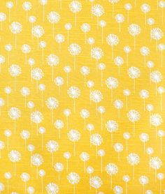 Premier Prints Small Dandelion Corn Yellow Slub Fabric~Out of Stock (for inspiration purposes) Yellow Fabric, Floral Fabric, Kitchen Fabric, Kitchen Curtains, Dandelion Yellow, Yellow Home Decor, Premier Prints, Classroom Design, Flower Aesthetic