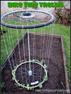 Recycled Bike Tire Garden Trellis