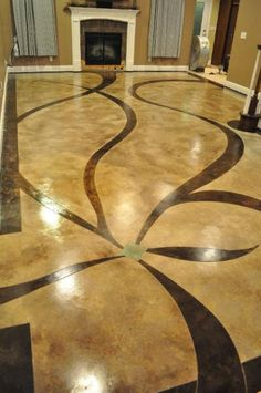 Fun Design For Stained Concrete Floor