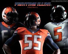 New Nike Fighting #Illini football uniforms for 2014-15, introduced on April 16, 2014. http://www.fightingillini.com/identity