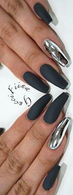 Black matte silver metallic nails design idea