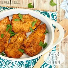 Quick and easy Baked Fried Chicken is a skinny version of a classic dish! Just as flavorful and delicious, but better for you!